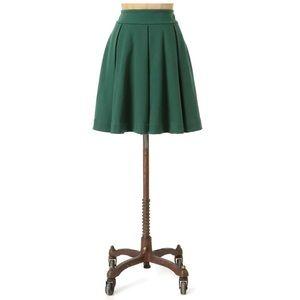 Anthropologie Maeve green box pleat ponte skirt